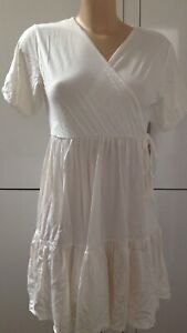 Maternity Wrap Puff Sleeve  Missguided Dress Off White Size 8