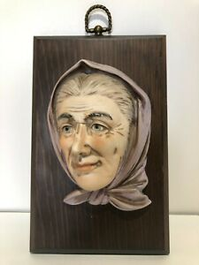 Vintage P M G Wooden Wall Plaque With Porcelain Lady Face
