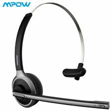 Mpow Bluetooth Headset Mic Handsfree Headphone Trucker Driver Over Head Earpiece