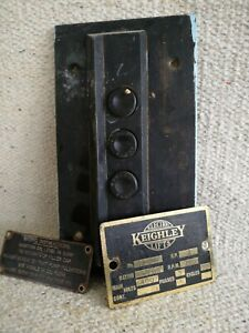 Vintage Brass Keighley Lift sign, call lift buttons