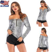 Women Ladies Off Shoulder Snakeskin Print Long Sleeve Tops Casual T-Shirt Blouse