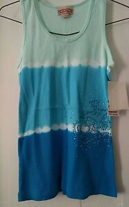 NWT GIRLS BEAUTEES MULTI BLUE RIBBED STRETCH TANK TOP Sz L NEW