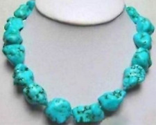 Beautiful Natural 10x14mm Irregular Turkey Turquoise Gemstone Necklace 18'' AAA