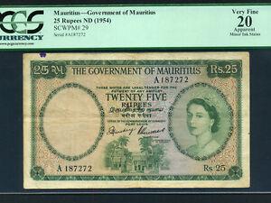 Mauritius:P-29,25 Rupees,1954 * Queen Elizabeth II * PCGS VF 20 *