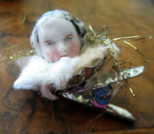Antique porcelain doll  head  on clip -Christmas tree decoration  /Germany