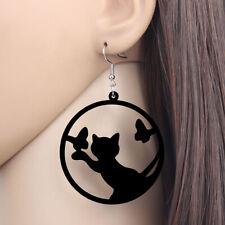 BONSNY Cat butterfly Earrings Large Circle jewellery Dangle fashion fun