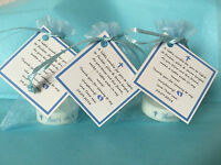 BABY SHOWER CANDLE christening FAVOURS BLUE PINK YELLOW GUEST THANK YOU GIFTS