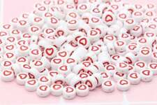 100 Red Outline Heart Beads Acrylic Beads Plastic Heart Symbol Round Beads 7mm