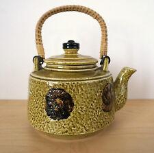 Vintage Japanese Asian Ceramic Pottery Art Wicker Handle Tea Pot or Planter
