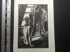 1930s Art Deco Woodcut print by Lynd Ward of artist and nude female model