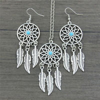 Bohemian Dreamcatcher Leaves Feather Pendant Necklace Earrings Jewelry Set JR