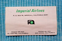 Imperial Airlines - Busines Card Time Table - 10/1/76
