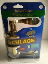 Schlage Decorative Lever Bright Brass Hall & Closet