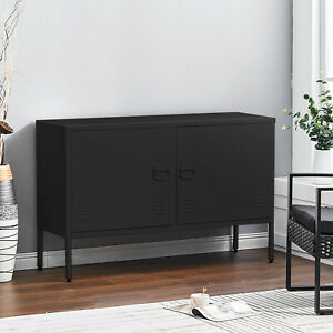 Metal TV Stand Sideboard Office Filing Storage Cabinet Cupboard Doors Cable Hole