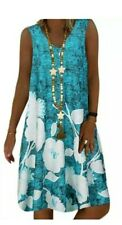 Womens Boho Sleeveless Loose Dress Summer Kaftan Mini Plus Size 4XL