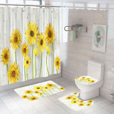 Sunflower Shower Curtain Set Bathroom Rug Bath Mat Non-Slip Toilet Lid Cover