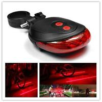 5 LED Bicycle Cycle Bike Red Beam Rear Lights 2 Laser Back Tail Lamp Safet+