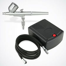 NEW Dual-Action Airbrush Kit Small Air Compressor Set Nail Art Craft Hobby Paint