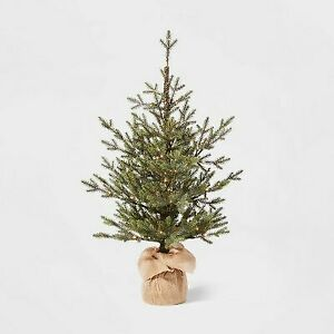 3ft Pre-lit Artificial Christmas Tree Potted Balsam Fir Warm White Dew Drop LED