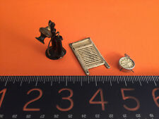 Antique doll house miniatures: painted German phone, wash board, alarm clock