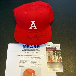 1982 Frank Robinson Signed Game Used Cracker Jack Old Timers Game Hat JSA MEARS