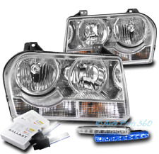 FOR 05-10 CHRYSLER 300 REPLACEMENT CHROME HEADLIGHT W/BLUE LED DRL SIGNAL+6K HID