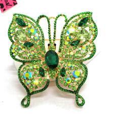 Betsey Johnson Charm Brooch Pin Hot Green Bling Rhinestone Flower Butterfly