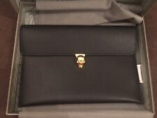 ALEXANDER MCQUEEN BLACK CALFSKIN GOLD SKULL CLOSURE ENVELOPE CLUTCH BAG