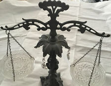 Vintage Scales Of Justice Crystal Glass Prism Brass Hanging Tabletop Ornate Marb
