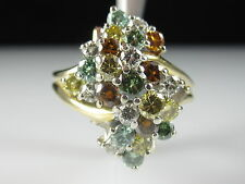18K Multi Colored Diamond Cluster Ring Yellow Gold Waterfall Fine Jewelry 2.15ct