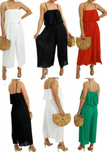 Women's Ladies New Frill Bust Jumpsuit Strappy Playsuit Pleated Culotte Summer