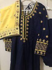 Punjabi patiala salwar suit indian salwar suit navy blue yellow dupatta suit