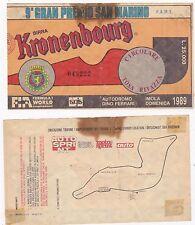9° GRAN PREMIO DI SAN MARINO 1989 BIGLIETTO INGRESSO  Imola  Dino Ferrari