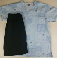 Lot of 2 Patch Pattern color Light Blue Denim Scrub Top & Black Pants Small