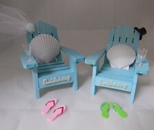 Wedding Reception Real Seashell Adirondack Blue Veil & Hat Chairs Cake Topper