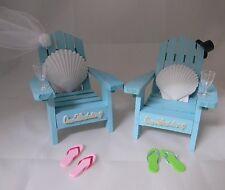 Wedding Reception Real Seashell Adirondack Blue Veil & Hat Chairs Cake Topper