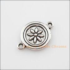 6Pcs Tibetan Silver Tone Round Flower Charms Pendants Connectors 15.5x23mm