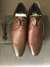 Man John White Brown Leather Shoes Size 10 Uk 44 Euro