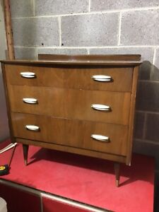 Mid Century Chest Of 3 Three Drawers, Bedside Cabinet, Retro Small Chest