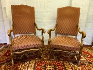 FANTASTIC PAIR OF ANTIQUE FRENCH WALNUT UPHOLSTERED ARMCHAIRS
