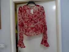 ASOS Floaty Blouse In Red Floral Print Size UK 8 RRP-£34