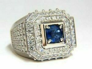 Sapphire Round Cut Engagement CZ Pinky Mens Ring 925 Sterling Silver