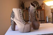 Jeffrey Campbell Lita Spike Tan Suede Platform Lace Up Booties Size 9 M