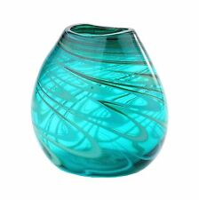 "New 8"" Hand Blown Art Glass Vase Green Swirl Design Decorative"