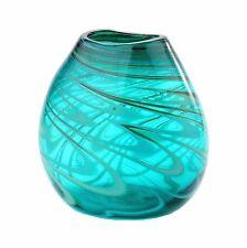 "New 8"" Hand Blown Art Glass Vase Green Swirl Design Decorative"