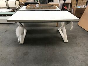 Ex-display Dwell Extending Table In White Gloss-polished s/steel Legs. Seats 6-8