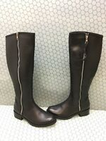 Steve Madden LANE Black Leather Side Zip Knee High Boots Women's Size 8 M