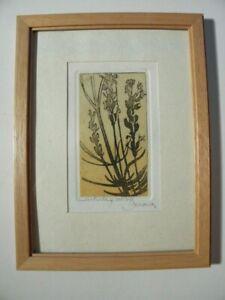 Schöne kleine Vintage Radierung - Motiv: Lavendel -  Signiert Michel Leroux