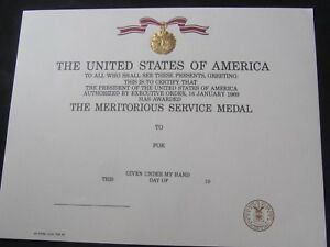 US UNITED STATES AIR FORCE EMBOSSED MERITORIOUS SERVICE MEDAL CERTIFICATE - MINT