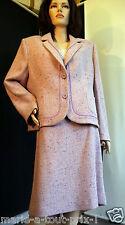 SUPERBE - Marie Clémence Tailleur jupe en laine rose + mauve chiné Paris 52 NEUF